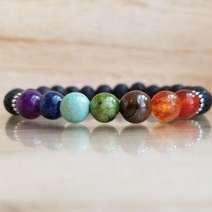 7 Chakra Healing Lava Bead Bracelet